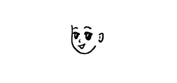 春节贴福字的小女孩简笔画
