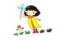 玩风车的小女孩简笔画教程