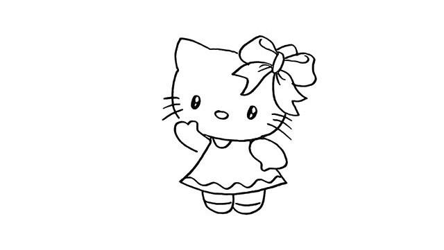 hello kitty简笔画步骤教程