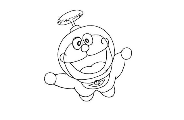 开心的哆啦A梦简笔画