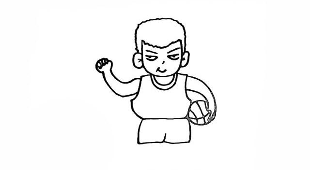 抱着篮球的樱木花道简笔画