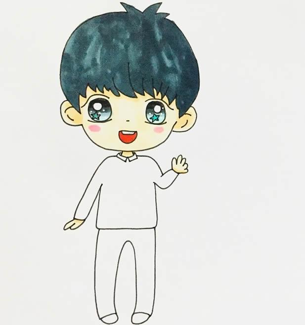帅气小男孩卡通简笔画