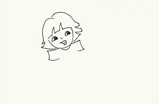 奔跑的小女孩卡通简笔画