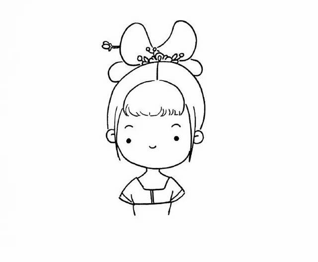 穿汉服的小姑娘简笔画