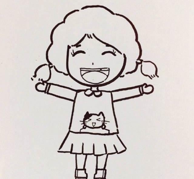 活泼开朗的小女孩简笔画